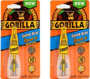 Gorilla Super Glue with Brush & Nozzle Applicator, 12 Gram, Clear, (Pack of 2)