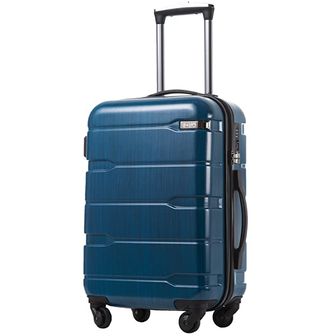 "COOLIFE Luggage Expandable(only 28"") Suitcase PC+ABS Spinner Built-in TSA Lock 20in 24in 28in Carry on (Caribbean Blue, L(28in).) best spinner luggage"