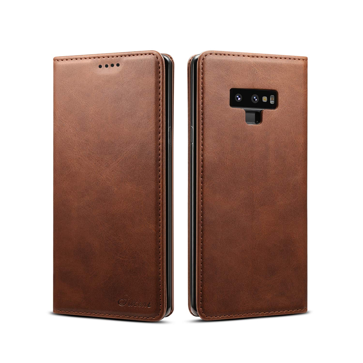 Galaxy Note 9 Leather Wallet Case, Bpowe Ultra Slim Business Style Folding Flip Case with Kickstand Card Slots Magnetic Closure Protective Cover for Samsung Galaxy Note 9 (Brown)