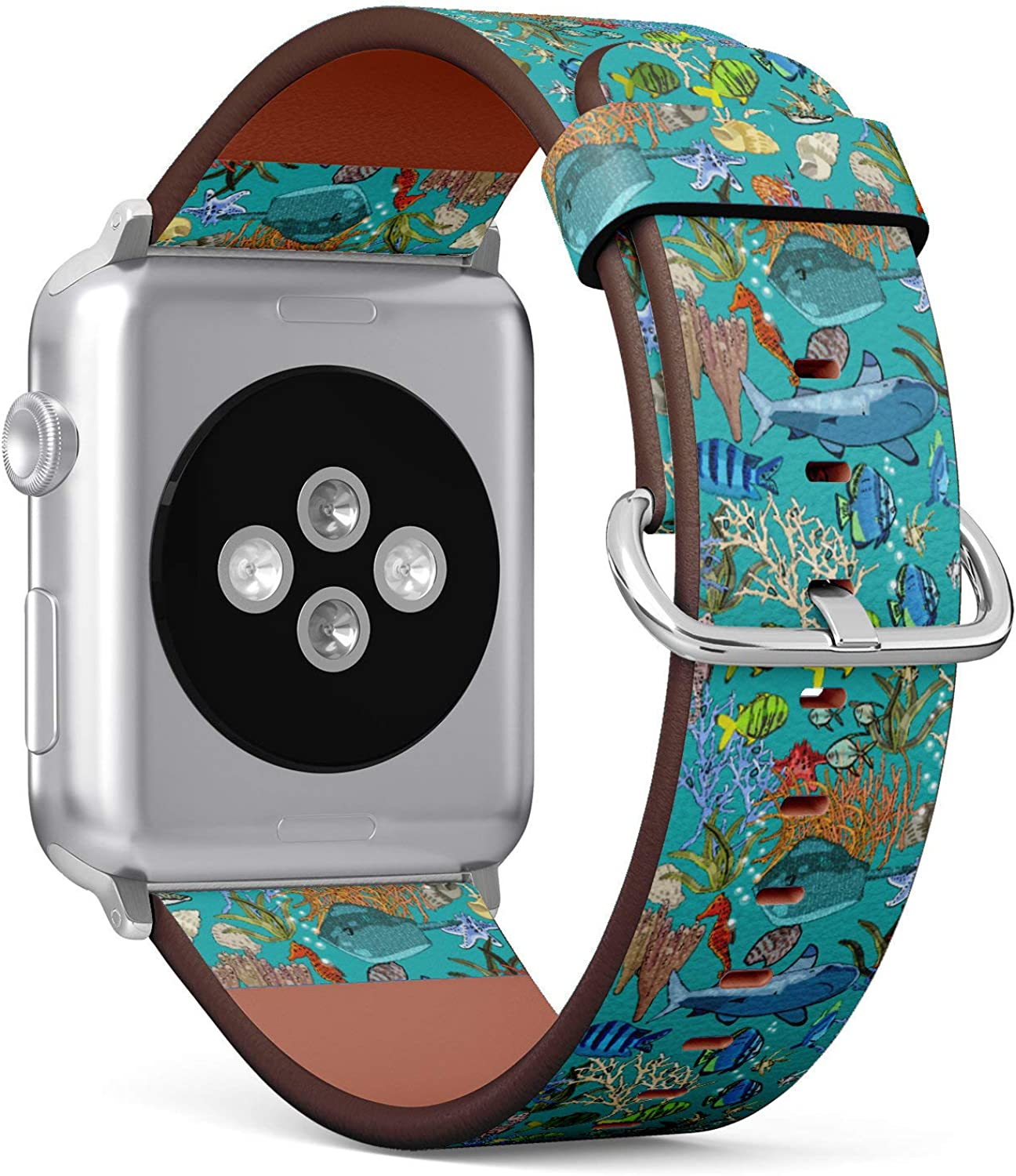 (Exotic Fish, Seahorses, Sharks, Starfish, Coral, Stingray) Patterned Leather Wristband Strap for Apple Watch Series 4/3/2/1 gen,Replacement for iWatch 42mm / 44mm Bands