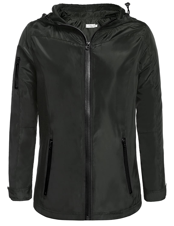 Meaneor Women Waterproof Lightweight Rain Jacket Outdoor Hooded Raincoat **MAH017000