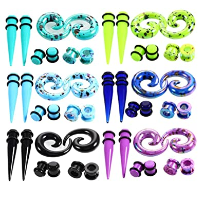 54 pcs Spiral and Straight Taper Stretching Gauges Kit with Acrylic Plug Kit 54 Pieces IPINK