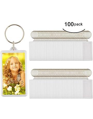 100pcs Custom Personalised Insert Photo Acrylic Blank Keyring Keychain  Wholesale(Size 2.51