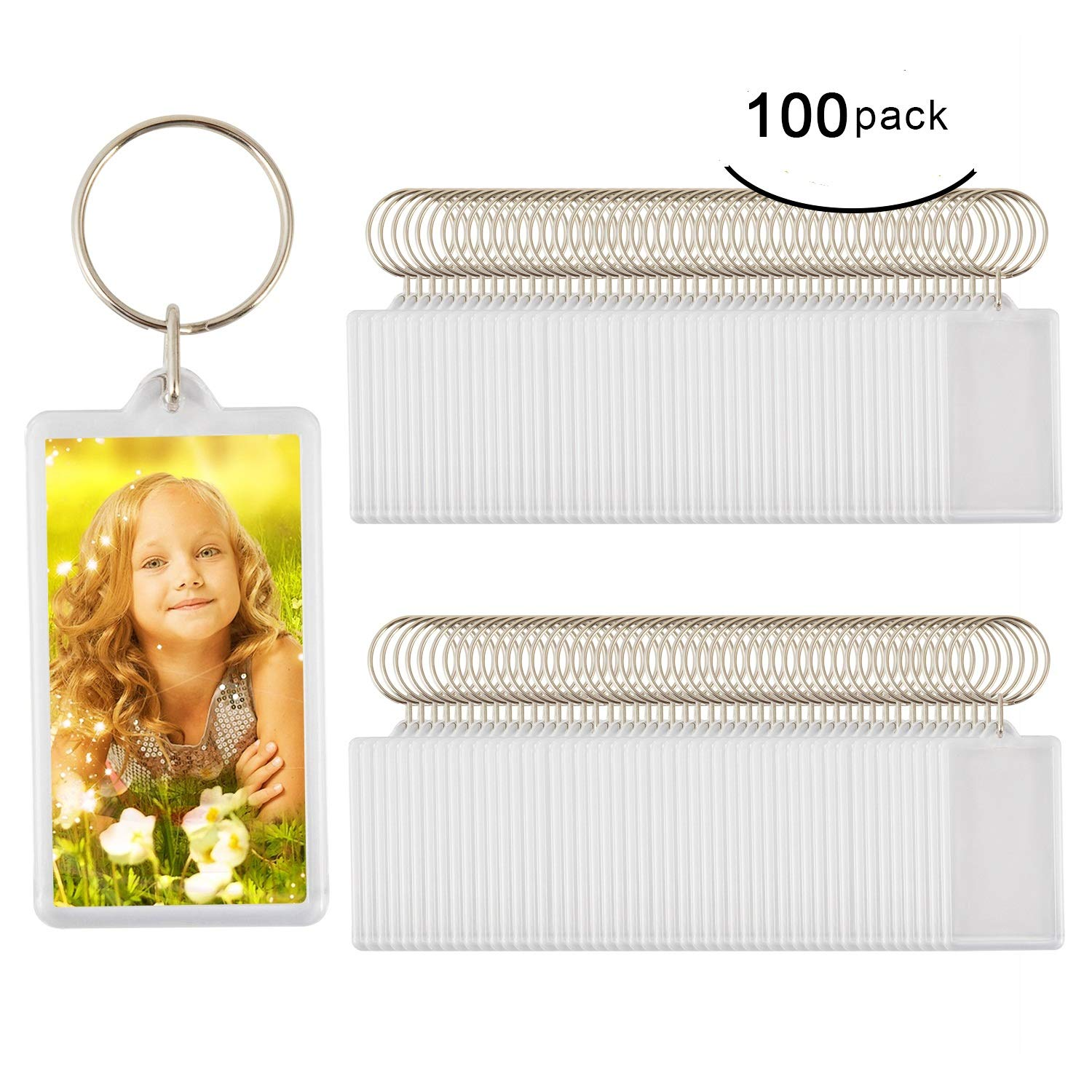 100pcs Custom Personalised Insert Photo Acrylic Blank Keyring Keychain WholeSale(size:2.51''x1.33'')