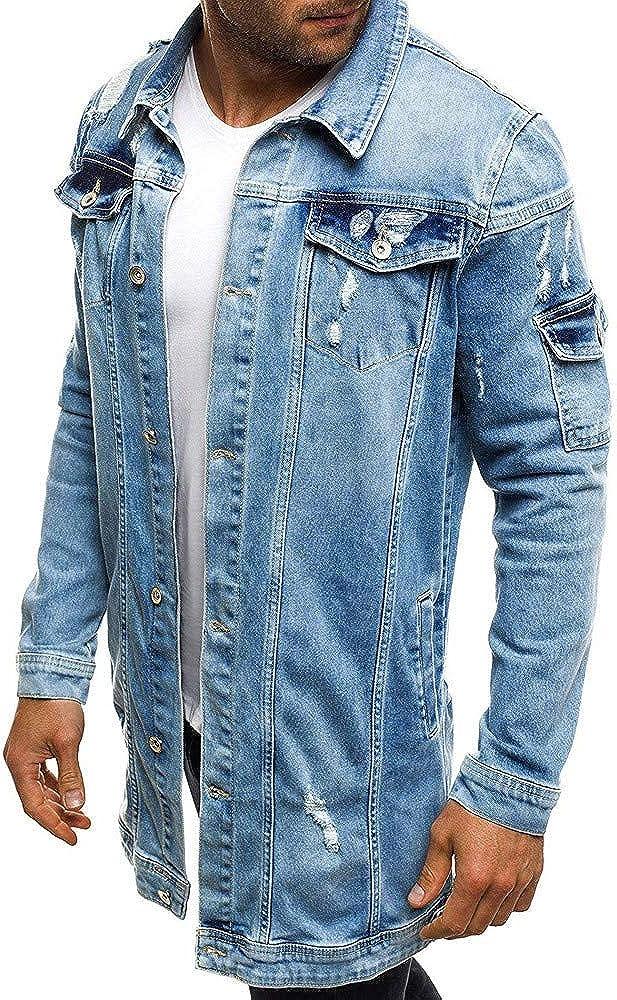 SPE969 Men's Distressed Denim Jacket, Autumn Winter Casual Vintage Wash Coat Top Blouse