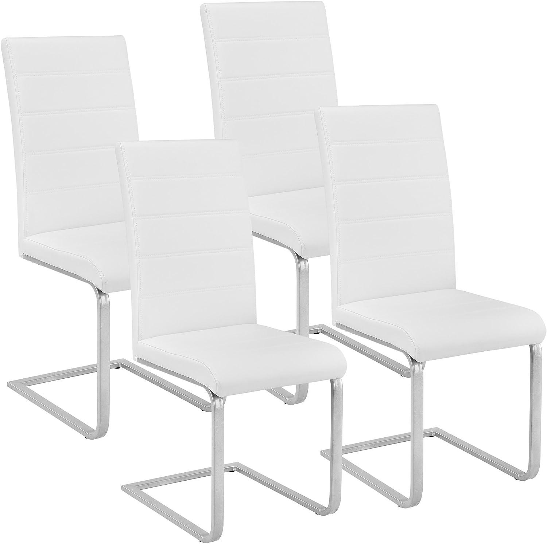 TecTake Set de sillas Cantilever de Comedor cantidades - (4X Blanco | Nr. 402554)