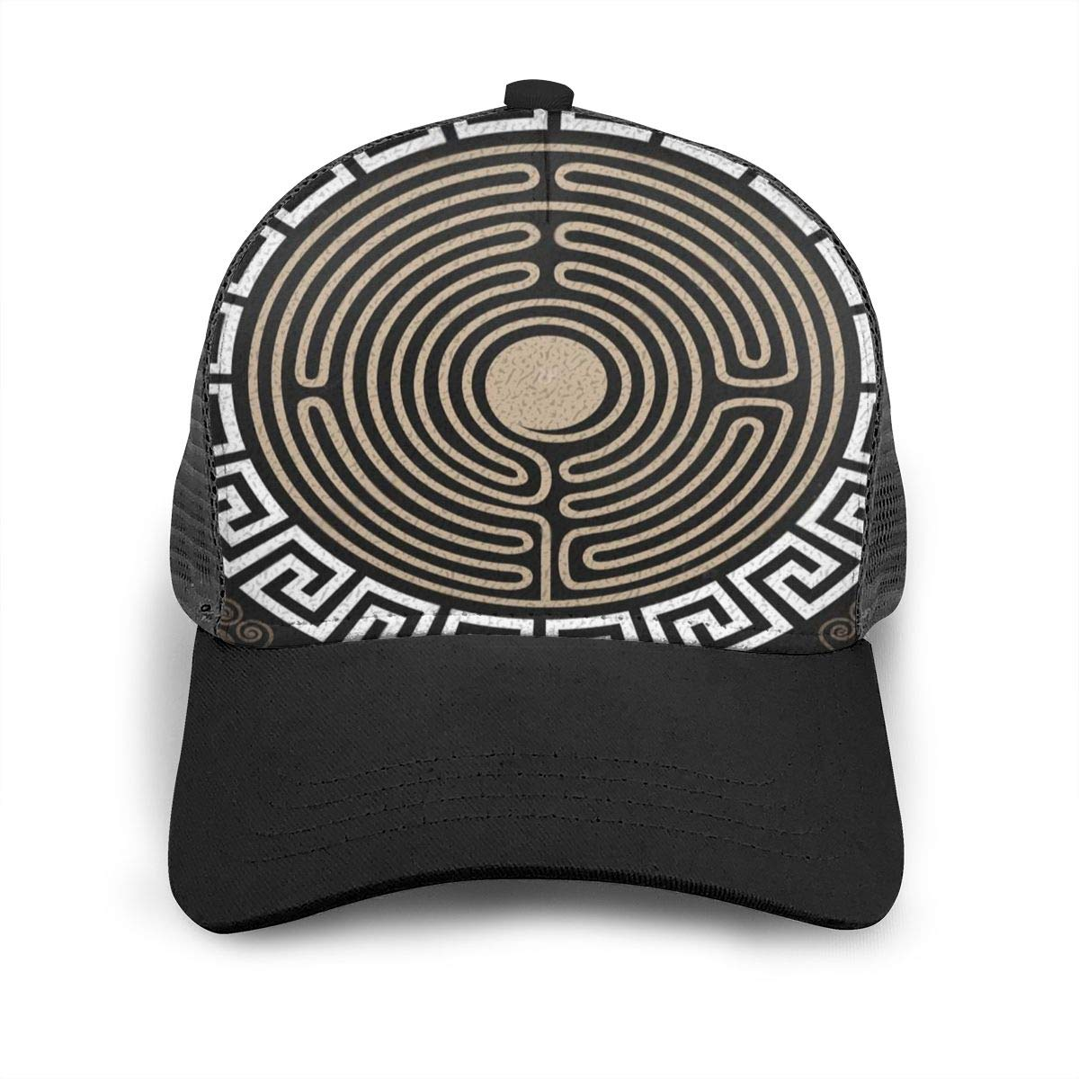 Fitted Snapback Baseball Cap for Unisex Mens Han Dynasty Decorative Lines Flat Baseball Cap