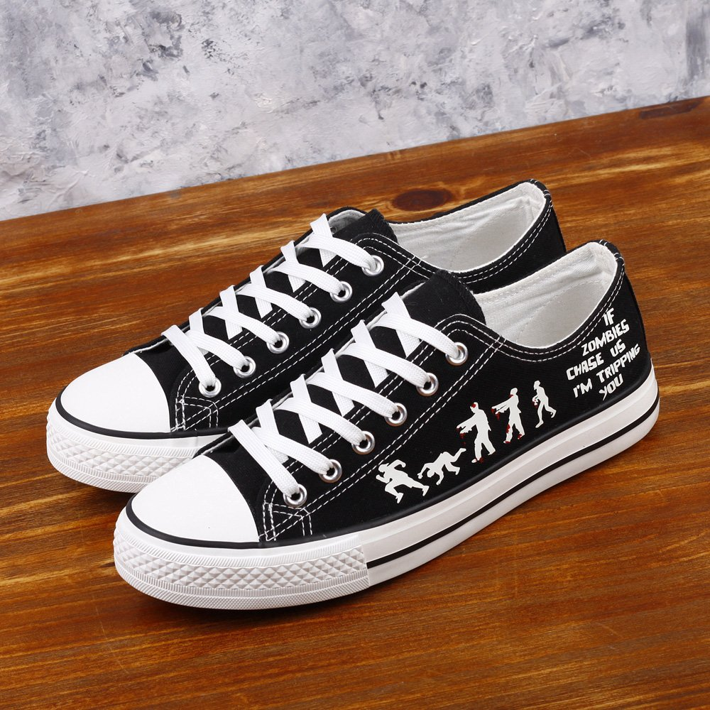 E-LOV Black Luminous Zombies Printing Canvas Shoes Low Cut Sneakers Lace up Funny Casual Shoes Glow in Dark for Men Gift Idea by E-LOV (Image #3)