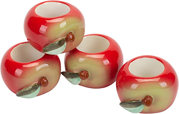 Design Imports Apple Orchard Cotton Table Linens, Hand Painted Ceramic Apple Napkin Rings, Set of 4