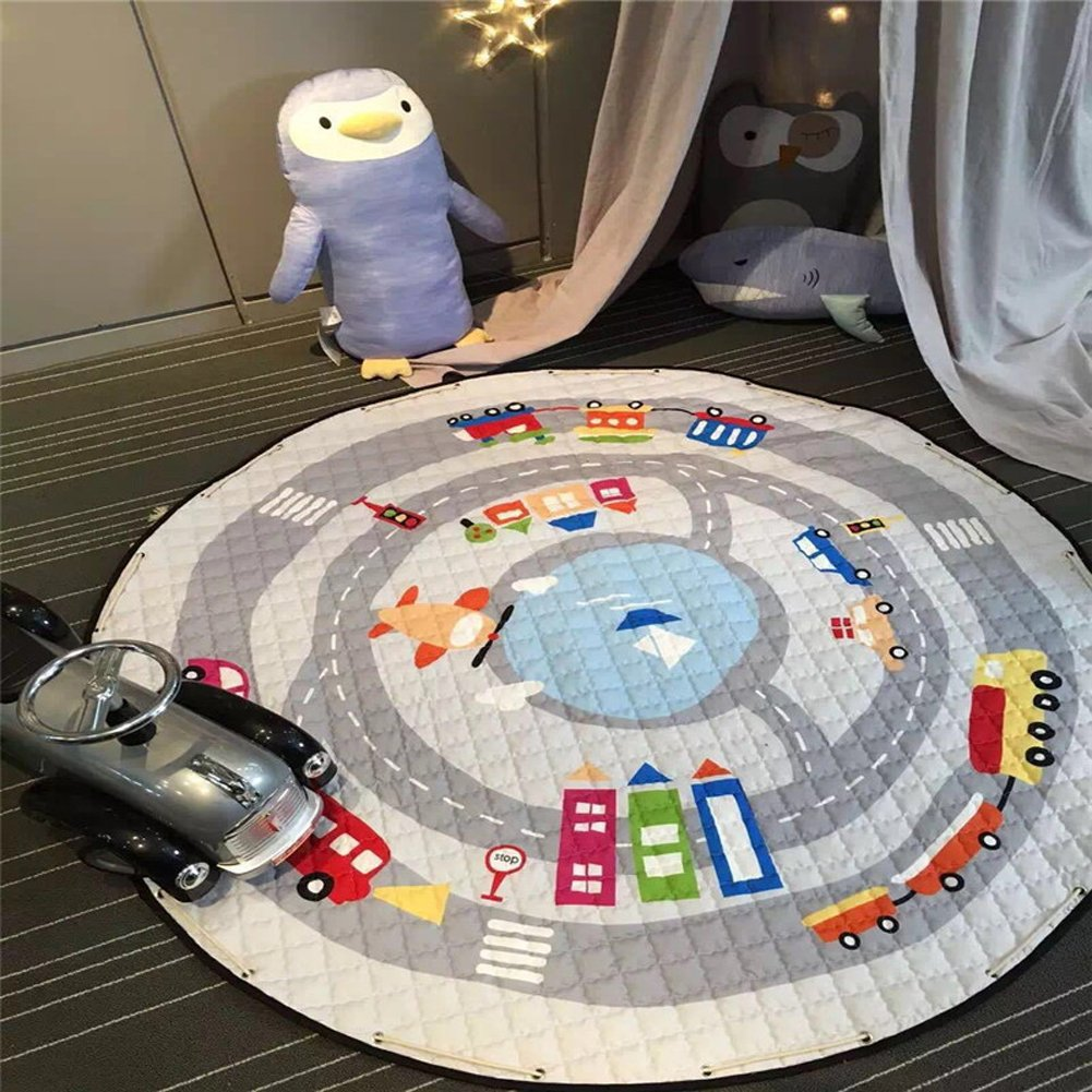 YJ.GWL Kids Play Rug,Cute Cartoon Car Playmat Rug with Non-Slip Backing Great for Nursery Baby,Ideal Gift for Kids Bedroom Play Room Classroom,58'' x 58''
