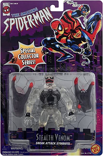 Toy Biz Marvel Stealth Venom Sneak Attack Symbiote Black 1996