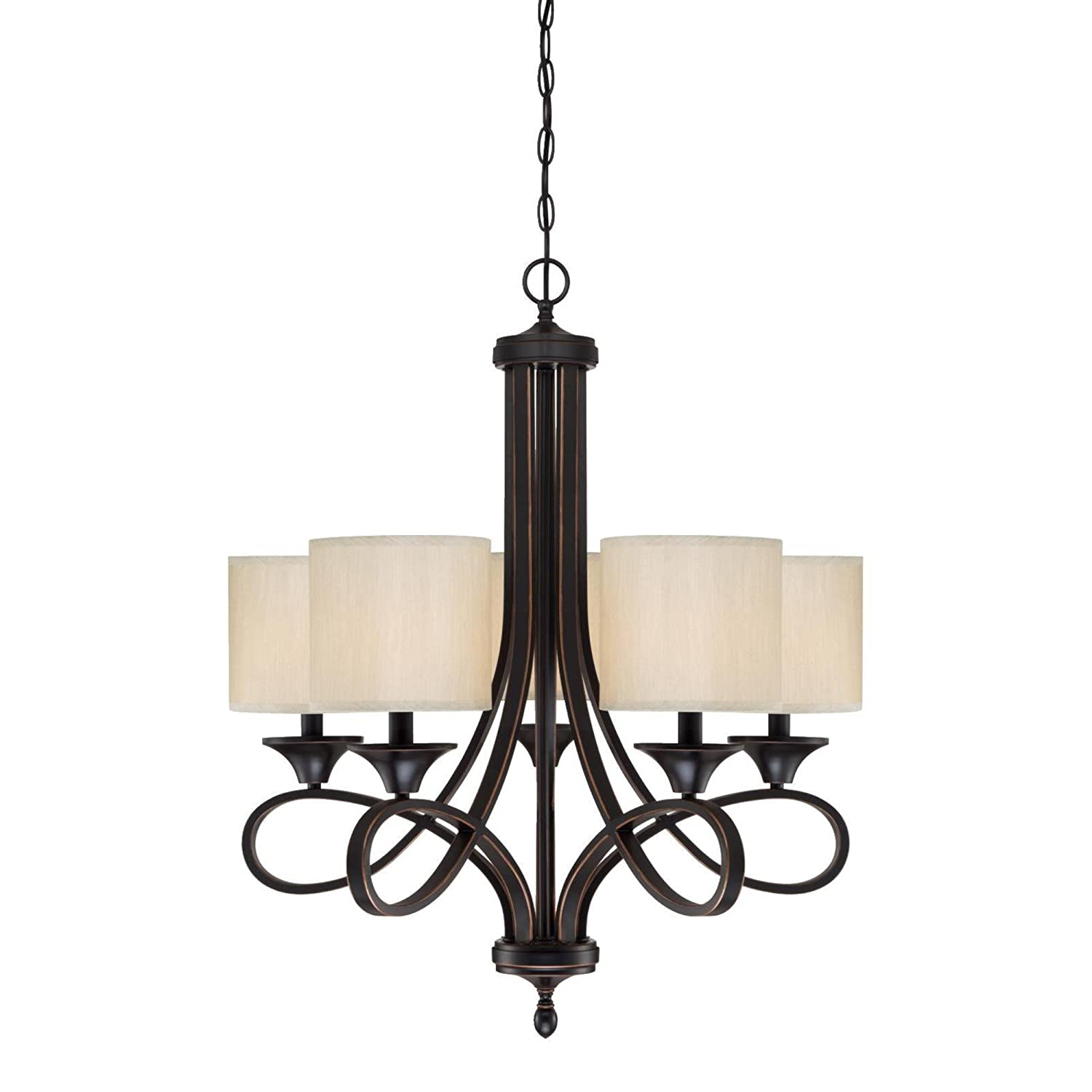 Westinghouse Lighting 6302900 Lenola Five-Light Indoor Chandelier, Amber Bronze Finish with Beige Fabric Shades