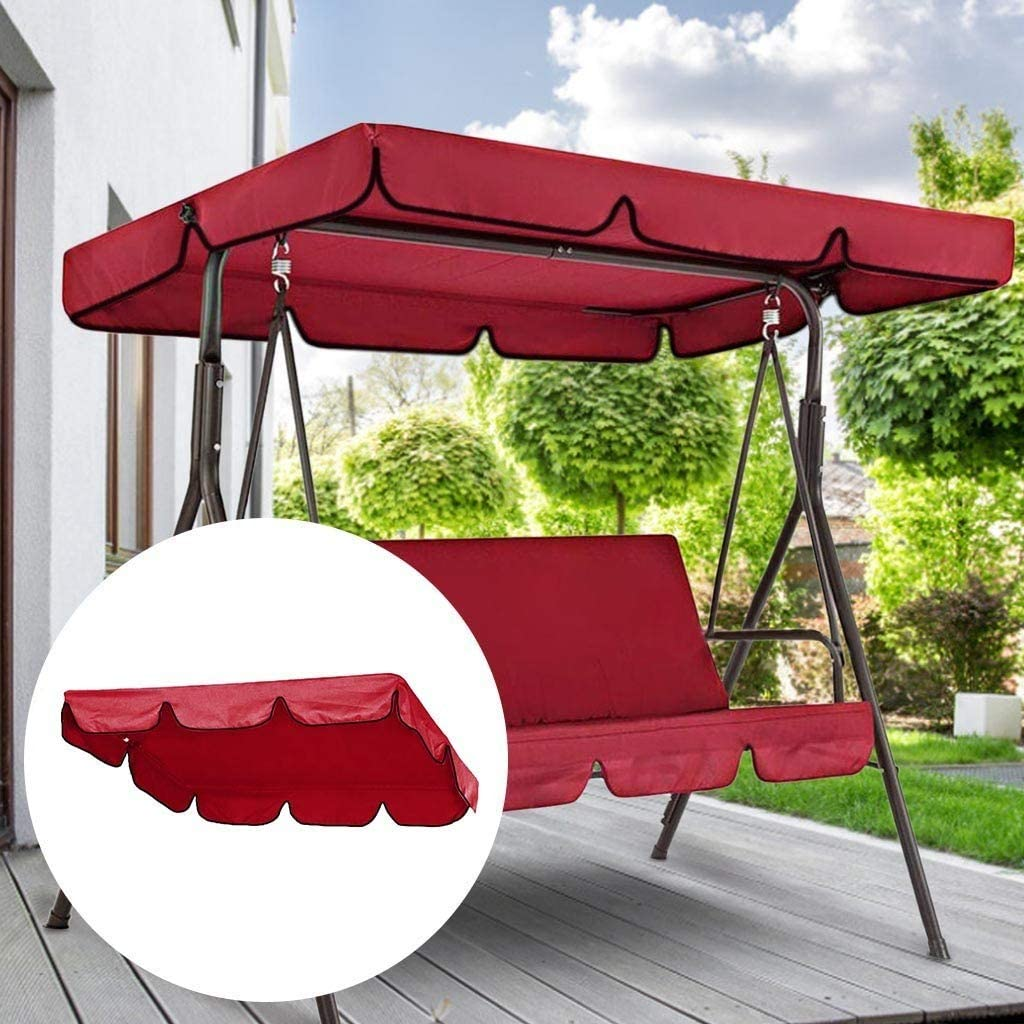 Swing Canopy Replacement for Three People Porch Swing Shade Cloth Swing with Canopy Garden Swing Replacement Canopy Outdoor Patio Swing Canopy Replacement Top (76X49X6inch, Red)