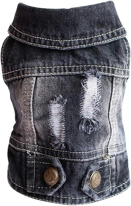 SILD Ropa para Mascotas Camisas para Perros Perro Jeans Chaqueta Cool Blue Denim Escudo Pequeño Perros Medianos Chaleco Azul Vintage Cachorro Ropa (XS, Black B): Amazon.es: Productos para mascotas