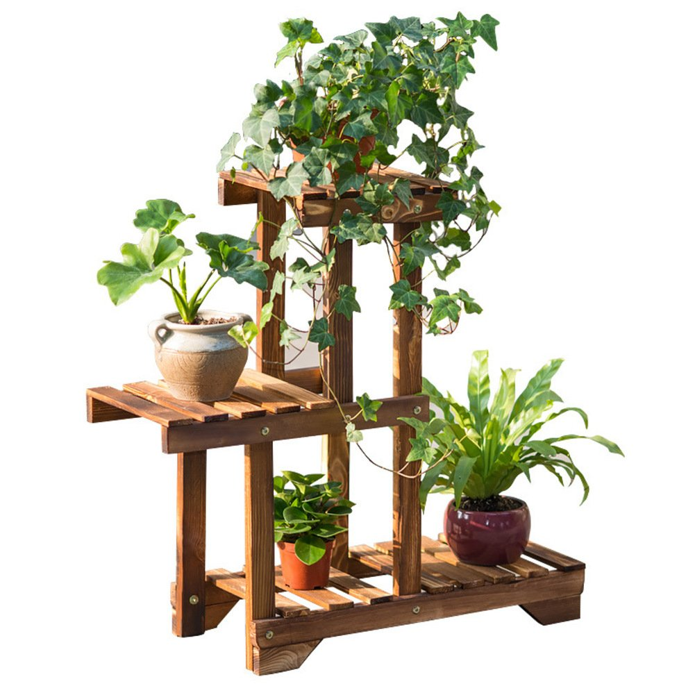 Balcony flower stand solid wood color balcony living room multi-layer multi-meat indoor flowerpot frame-A by Flower racks