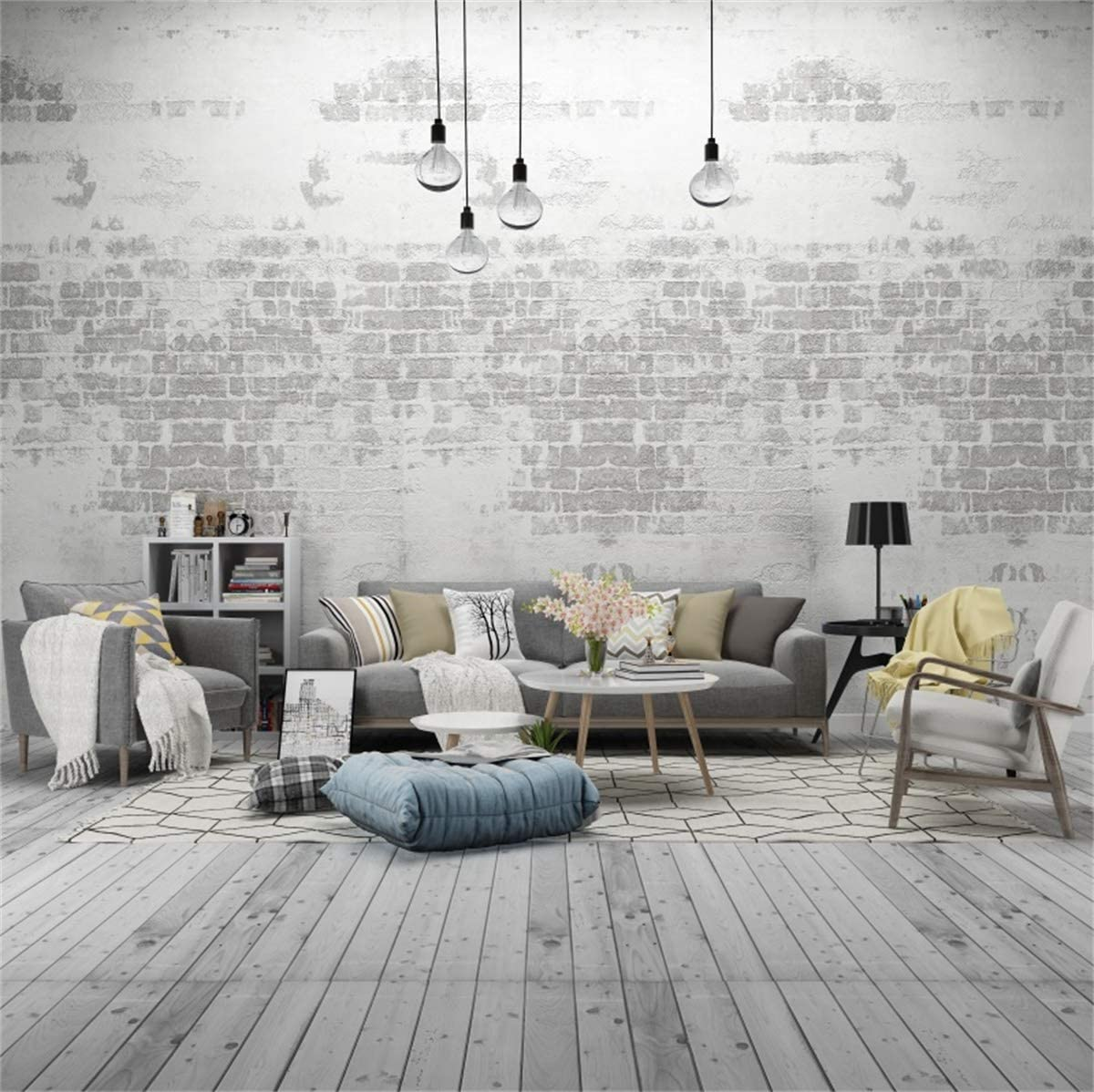 YEELE Retro Living Room Photography Backdrop 10x10ft Cozy Sofa Tea Table Combination Background Modern House and Home Design Interior Apartment Kids Adult Portrait Photo Studio Props