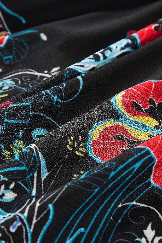 MisShow Damen Vintage 3//4 Arm Rockabilly Kleid Abendkleid Cocktailkleid gebl/ümt Knielang Gr.S-4XL