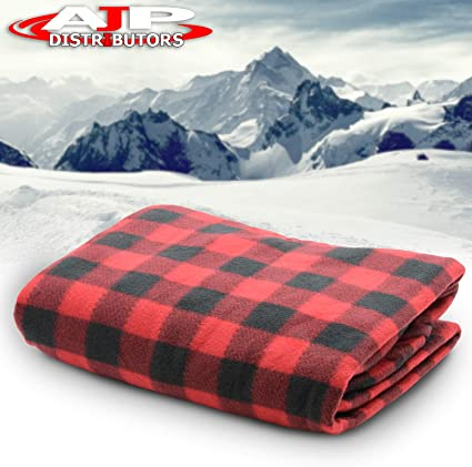 RV Good for Cold Weather Heated 12 Volt Throw Fleece Blanket for Car Black Electric Car Blanket Tailgating and Drive-ins