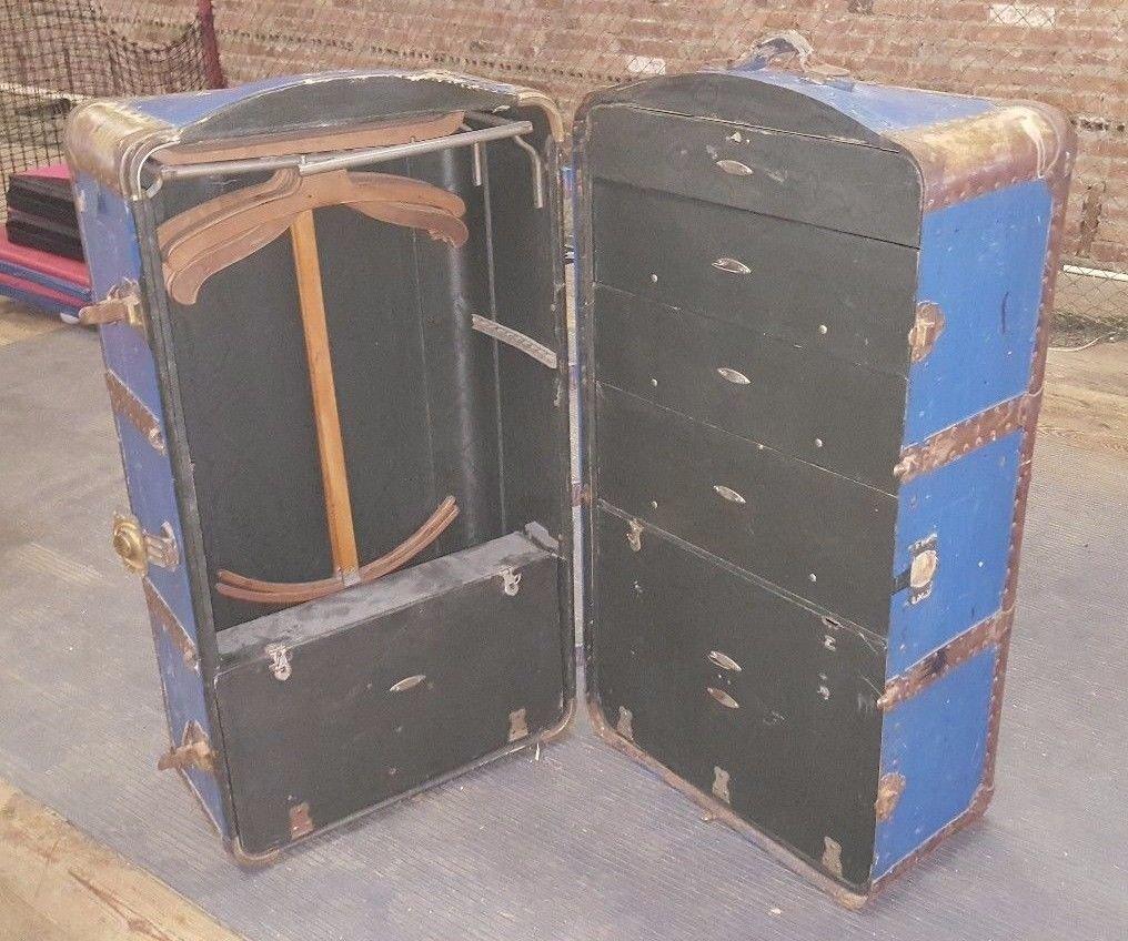Antique INDESTRUCTO Brides Wardrobe Steamer Trunk COMPLETE w Drawers & Hangers