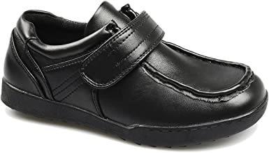 Boys Black Leather Touch Fastening Smart Sturdy School Shoes Sizes 8-5