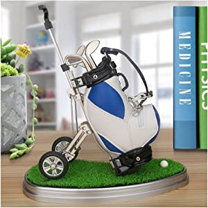 10L0L Golf Pens with Golf Bag Holder,Novelty Gifts with 3 Pieces Aluminum Pen Office Desk Golf Bag Pencil Holder for Men Fathers Day,Golf Souvenirs Unique Gifts for Golfer Fans Coworker