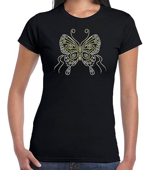 c83ac5917c02 Amazon.com: U.S. Custom Ink Women's Glitter Silver & Gold Butterfly ...