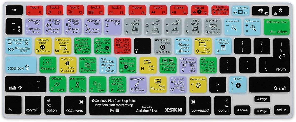 XSKN Ableton Live Functional Shortcut Silicone Keyboard Skin Cover for MacBook Air 13, Pro 13, 15, 17, Retina 13 15 and Wireless keyboard (not suit for magic keyboard)