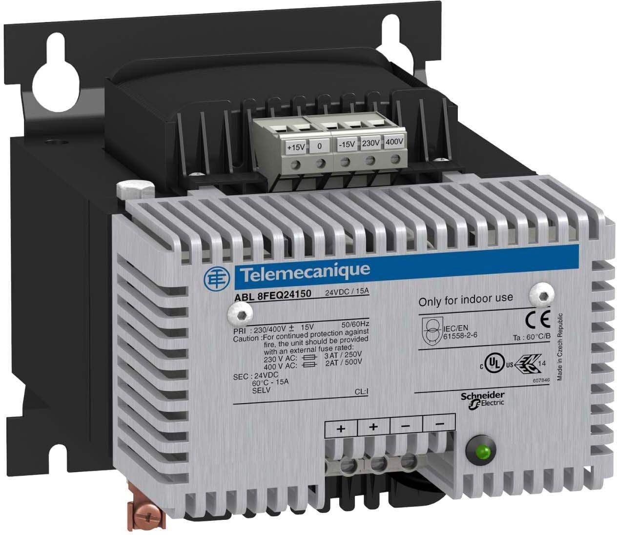 Schneider Electric ABL8FEQ24200 Alimentación Rectificada y Filtrada, 1 o 2 Fases, 400V CA, 24V, 20A, 128mm x 215mm x 175mm