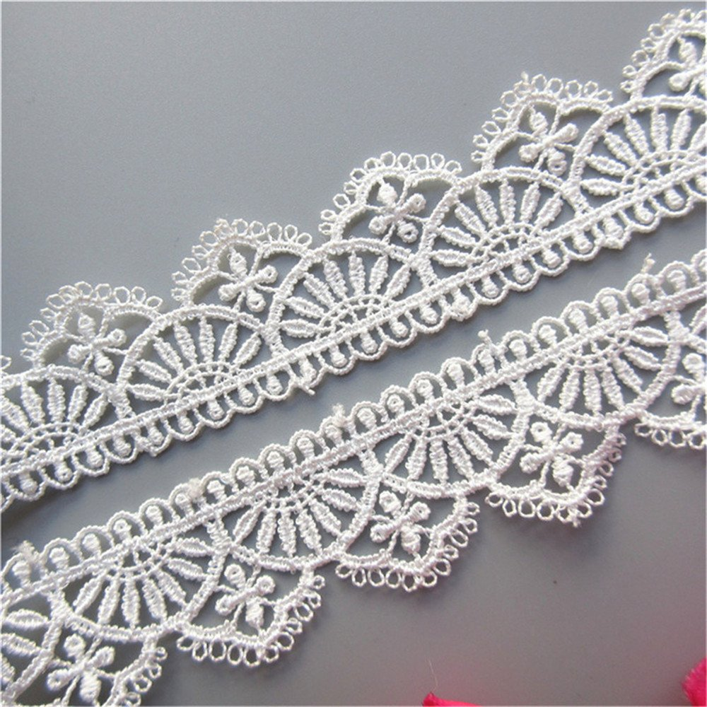 2 Yard White Polyester Crochet Lace Trim Scalloped Ribbon Embroidered Fabric 30mm Width For DIY Sewing Craft Clothes Decoration Qiuda