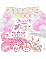 Pawliss Unicorn Party Supplies, Serves 16 Birthday Party Favors Decorations for Kids Girls, Cupcake Toppers Wrappers, Plates Cups Napkins, Balloons Banners Tablecloth, Bulk Pack 96ct