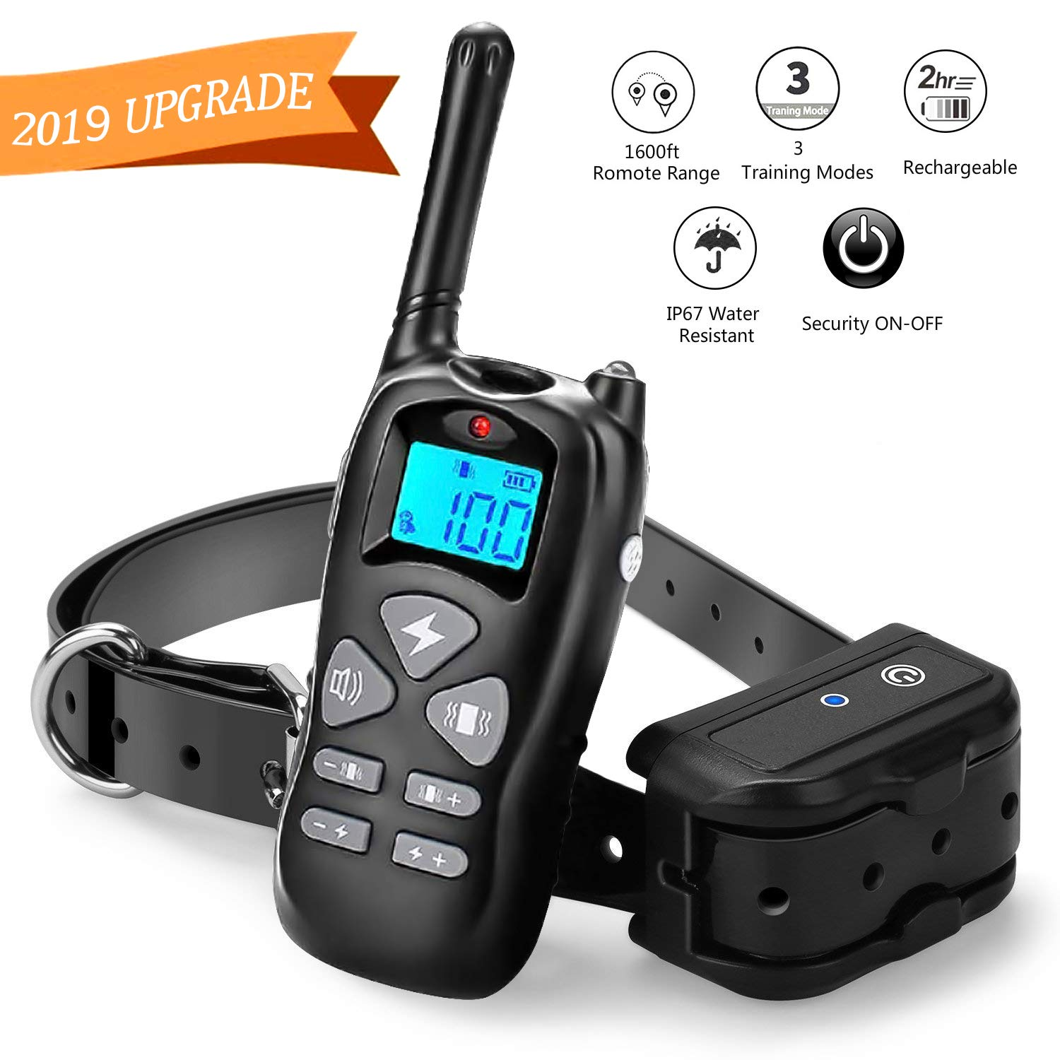 Shock Collar for Dogs, Dog Shock Collar with Remote 1600ft Range, IP67 Waterproof Rechargeable Dog Training Collar Beep Vibrate and Shock collar for Large Dogs and Small Dogs