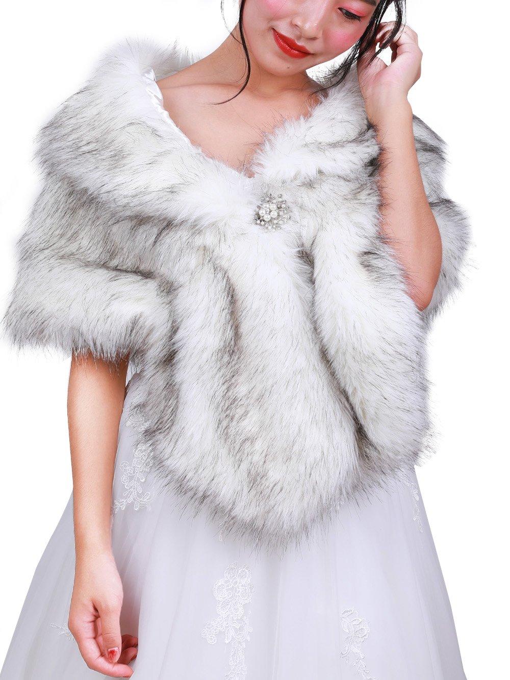 FXmimior Bridal Faux Fur Bridal Wrap Shrug Stole Shawl Cape Wedding Faux Fur Wrap (gray&white)