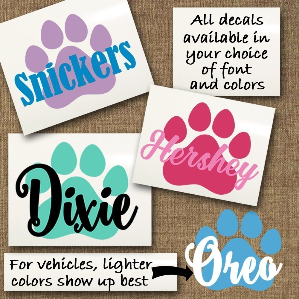 Paw Print Vinyl Decal in Your Choice of Font and Color