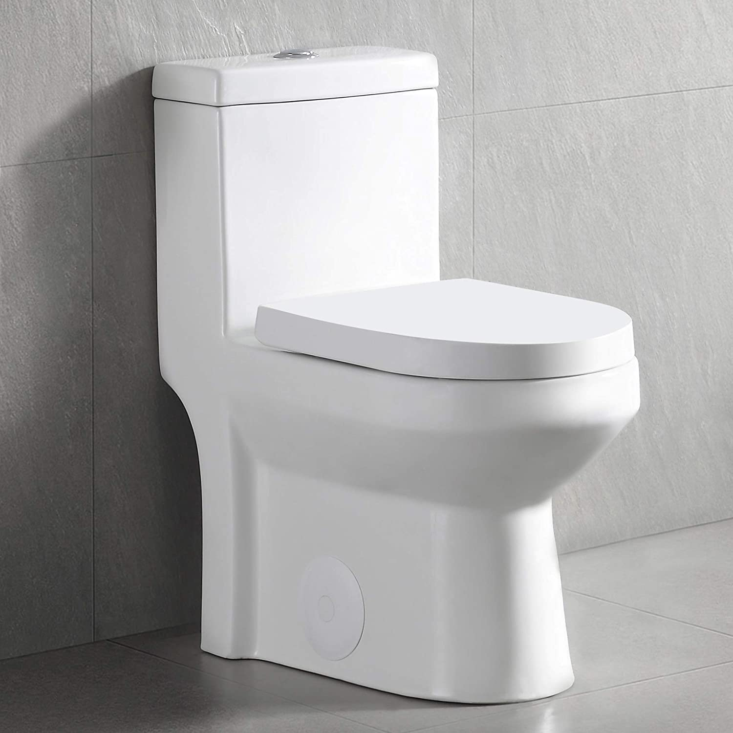 Deervalley Dv 1f52812 Modern Small One Piece Toilet Compact Bathroom Tiny Mini Commode Water Closet Dual Flush Concealed White Amazon Com
