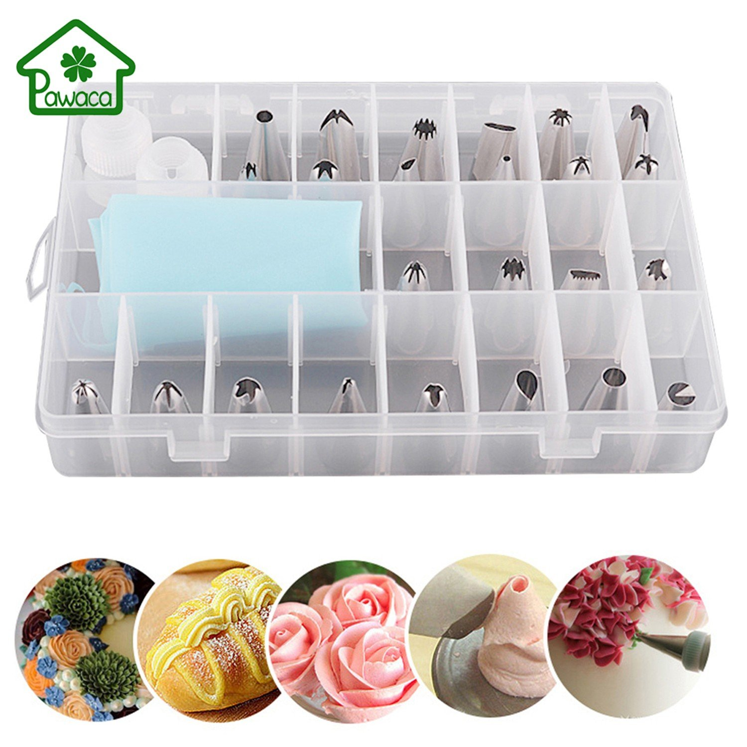 27Pcs/Set Convenient Durable Dessert Decorators Silicone Icing Piping Cream Pastry Bag + 24 Stainless Steel Nozzle Set Cake Decorating Tips