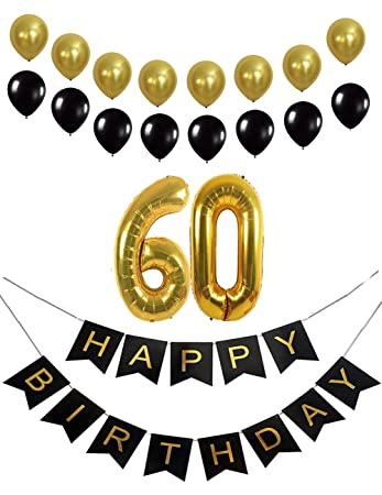 Happy 60th Birthday Banner Balloons Decorations Party Supplies Favors Number 60 Mylar For