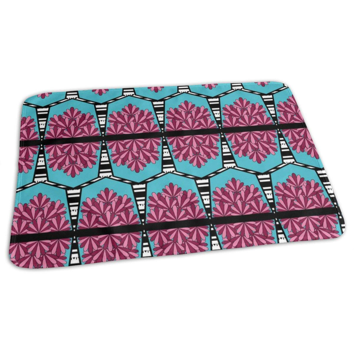 Party Flag Bunting In Pink And Aqua Baby Portable Reusable Changing Pad Mat 19.7x27.5 inch