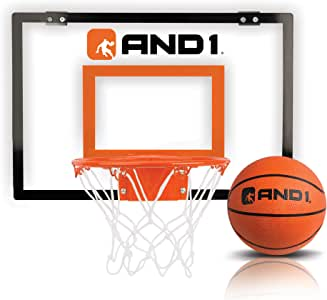 "AND1 Indoor Basketball Hoop- 18""x12"" Mini Basketball Hoop- Over the Door, Portable, & Easy to Install- Game Set for Children & Adults"
