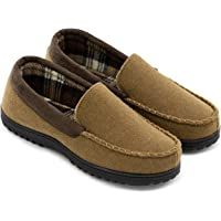 112c33e6f5fa61 Men's Wool Micro Suede Moccasin Slippers House Shoes Indoor/Outdoor
