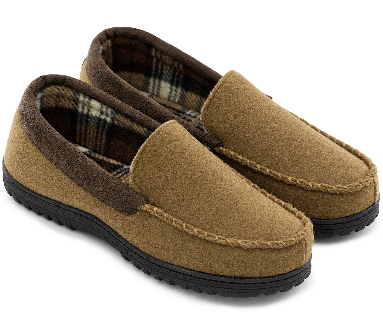 HomeTop Men's Indoor Outdoor Wool Micro Suede Moccasin Slippers House Shoes (43 (US Men's 10), Camel)