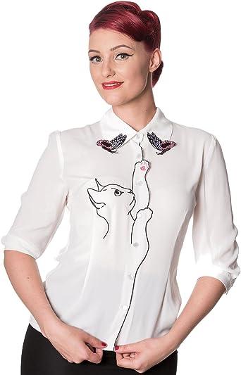 Banned Camisa Días de Baile con Nieve Pájaro Gato Mariposas de Estilo Retro Vintage de Los Años 50s: Amazon.es: Ropa y accesorios