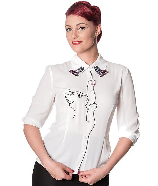 timeless design 21b8c 9f7d1 Banned Camicia Giorni di Ballo di Snow Bird con Gatto Farfalle in Stile  Retro Vintage Degli Anni 50's