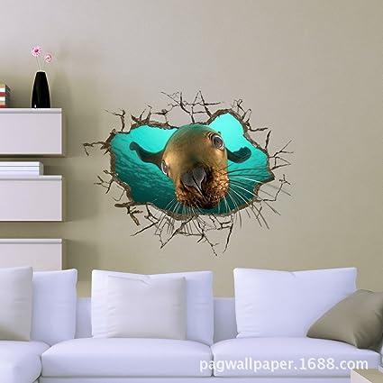 ZXY Home Decor 3D (León Marino) Pegatinas Wallpaper ...