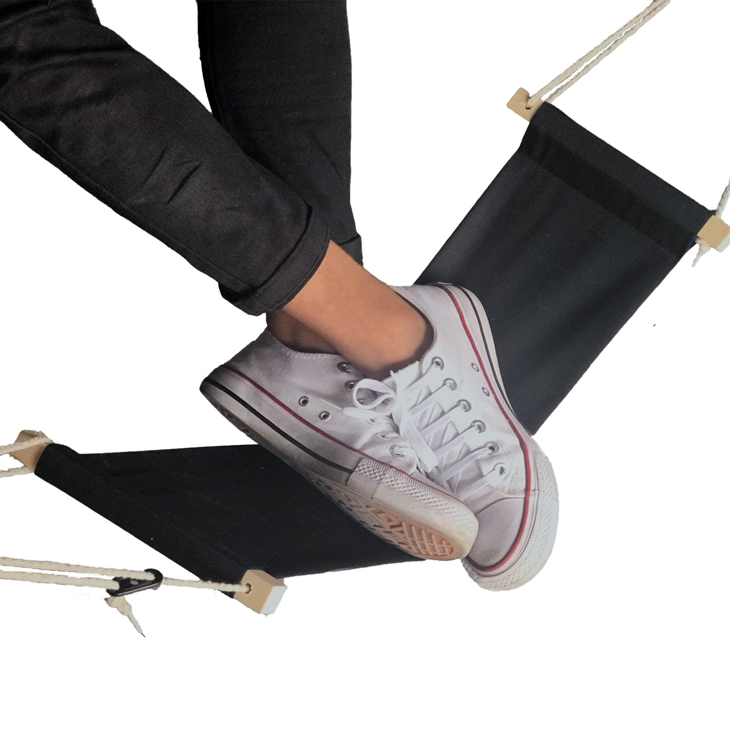 Nakimo Foot Hammock with An Extra Canvas as A Replacement - Portable Office Under Desk Footrest with Adjustable Durable Ropes, Black
