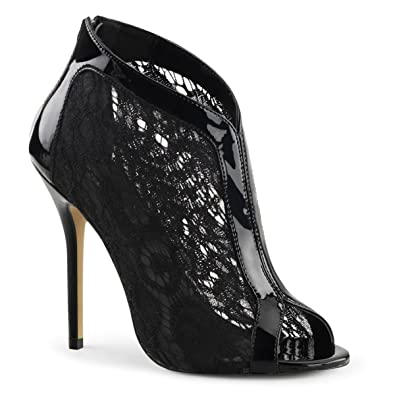 7512eba87a15 Summitfashions Womens Black Lace Heels Open Toe Booties Patent Trim 5 Inch  High Heel Shoes Size