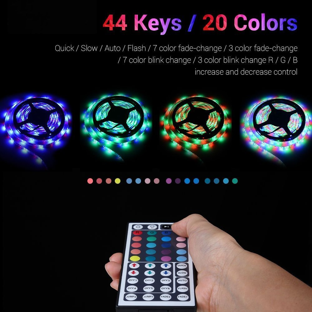 Flexible LED Strip Light Kit Linkstyle 16.4Ft LED Rope Lights 300 LED Tape Light, Color Changing RGB LED Strip Lights & 44Key Remote Controller and 12V Power Supply for DIY Bedroom Home Bar Party by LinkStyle (Image #2)