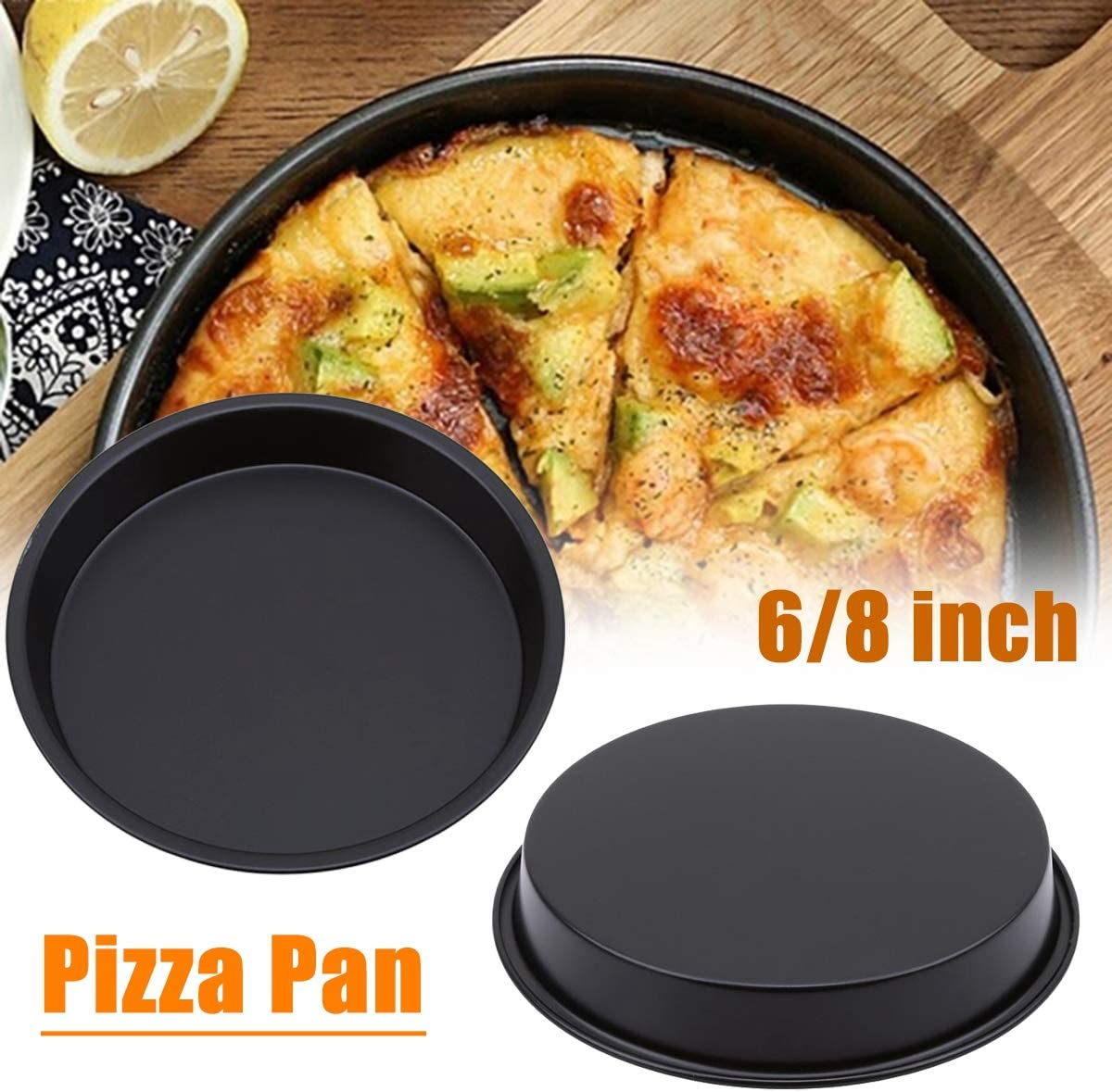 1PC Bakeware Pizza Pan,Stainless Steel Round Pizza Pan Tray Carbon Steel Non-Stick Oven Pizza Plate Pan for Kitchen Bakeware Cooking Tool,8 inch