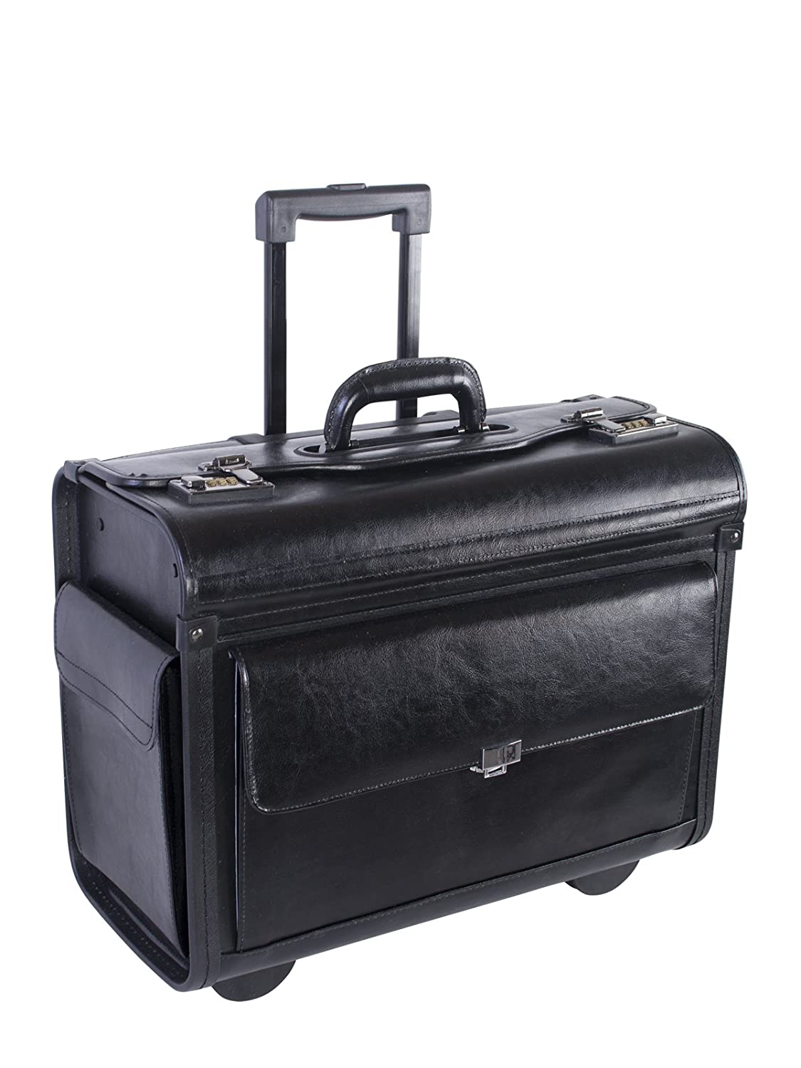 NEXTECH 15.6 Genuine Colombian Leather Wheeled Flapover Briefcase, Black, International Carry-On (Model:NT0803 009) TP-HOLIDAY GROUP LIMITED