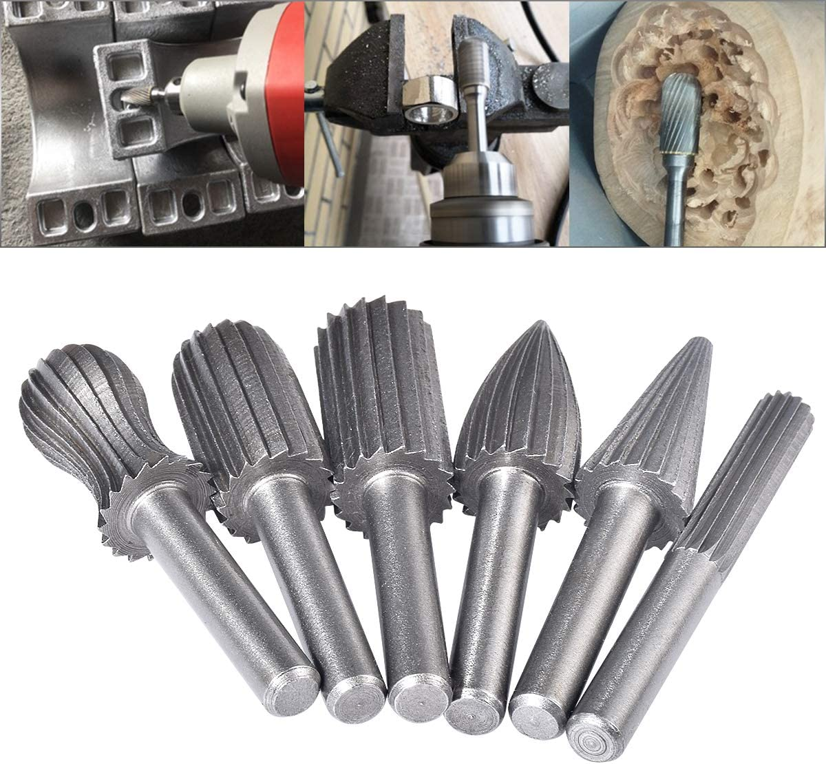 HOHXEN 6pcs Double Cut Rotary Burr Set with 6 mm Drilling Metal Carving Engraving Shank Die Grinder Bits for DIY Woodworking 1//4 Inch Polishing
