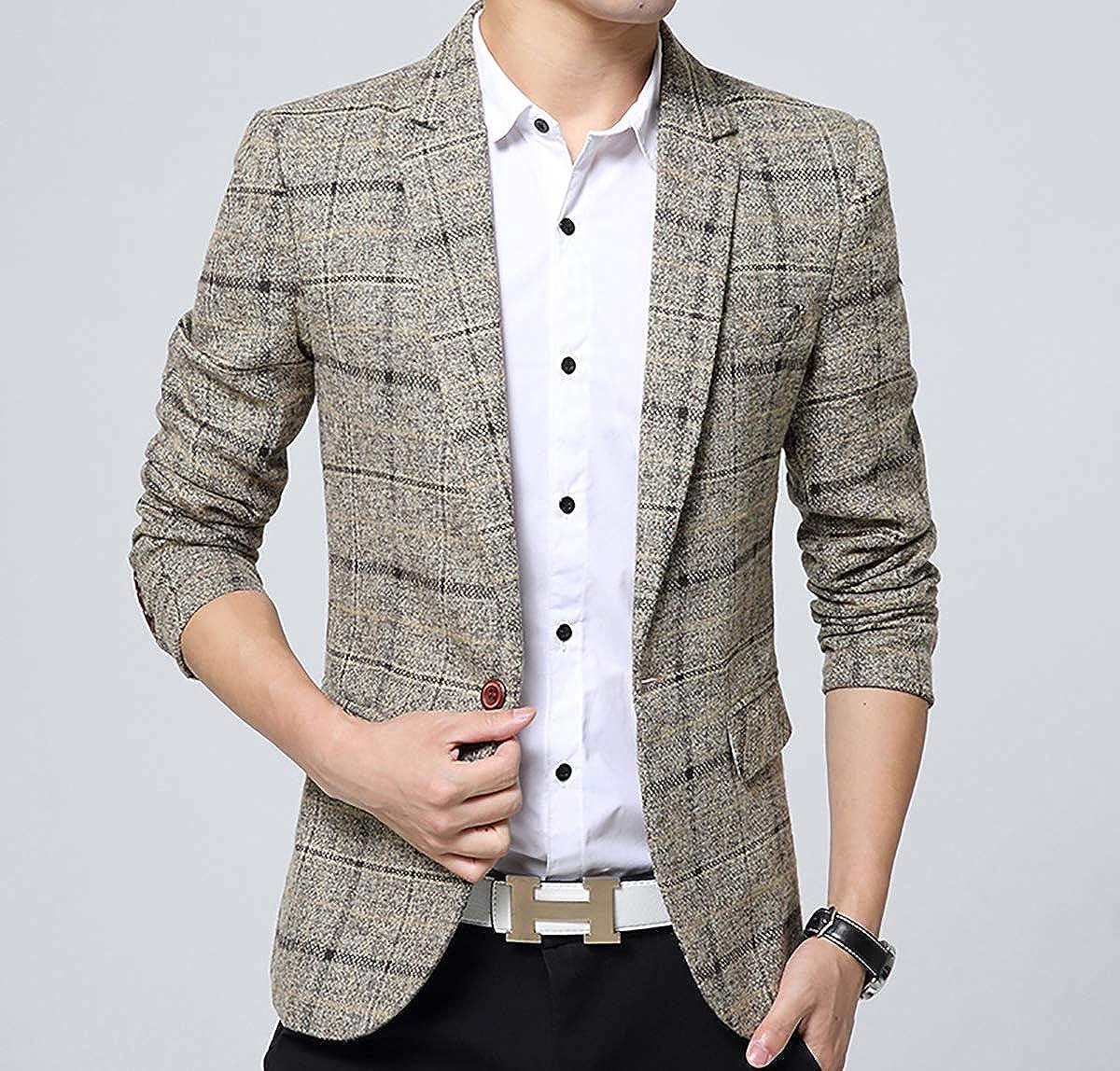 Mens Plaid Cotton Blend Tweed Blazer Coat Smart Formal Dinner Suits